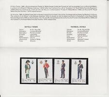MNH MALTA STAMP PRESENTATION PACK 1989 MALTESE UNIFORMS SG 851-854