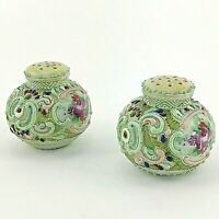 Salt Pepper Shakers Vintage Hand Painted PORCELAIN Made Romania Floral 2 Inch