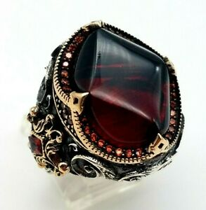 Artisan Handmade Ruby Mens 925 Sterling Silver Ring Size 11.5
