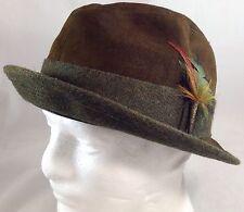 Vintage Knox Men's Fedora Hat Brown Felt New York Size  7 3/8 Feather