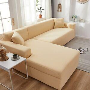 Plain Corner Sofa Covers L Shape Sofa Elastic Spandex Stretch Couch Cover