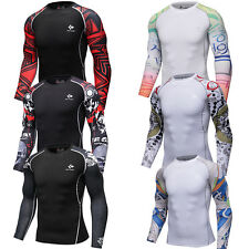 Mens Compression Shirt Quick-dry Workout Sports Athletic Base Layer Long Sleeve