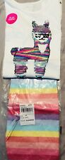 ~Girls~Tcp Outfit. Nwt~Size 10/12 L Flip Sequins Llama Shirt & Shorts.