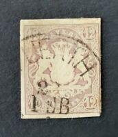 Bayern Wappen 12 Kreuzer violett Mi-Nr. 18 mit HKS Fürth, tiefst geprüft Richter