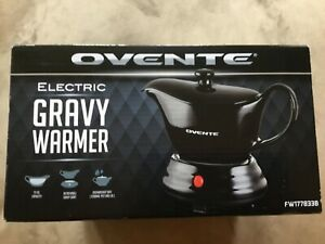 Ovente Electric Gravy Warmer With 33 Oz Serving Ceramic Pot Black Open Box