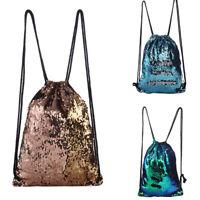 EG_ CN_ Women Fashion Bling Sequins Travel Backpack Drawstring Shoulder Bag Wide