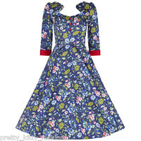 PRETTY KITTY 50s BLUE FLORAL SWING PARTY ROCKABILLY COCKTAIL PROM DRESS 8-18