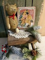 PRIMITIVE VINTAGE VICTORIAN OLD STYLE CHRISTMAS BEAR BAKERY STORE  CANVAS SIGN