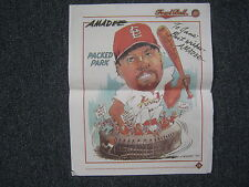 "AMADEE  Cardinals  Signed  1997 ""Mark  McGwire  Cartoon"" (Fowl  Ball  Cover)"