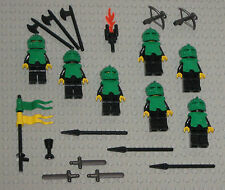 LEGO Minifigures Lot 7 Green Castle Knights Guys Swords Weapons Lego Minifigs