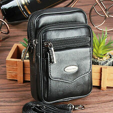 Men Genuine Leather Black Small Messenger Shoulder Bag Hip Belt Fanny Waist Pack