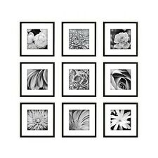 Gallery Wall Frame Set Collage Picture Square Black White Matted Photo Art Wood