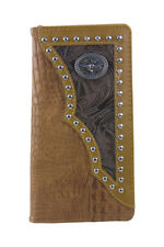 BROWN VEGAN ALLIGATOR BULL LONGHORN EMBLEM LOGO MEN LONG BIFOLD WALLET WEST WOLF