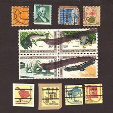 12 USA used postage stamps Scott 562 1059A 1393Da 1430 1611 1613-14a-15Cd lot