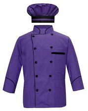Leorenzo Fabricate PN-71 Men's Purple Chef Coat Black Piping/ Chef Coat with Cap
