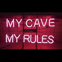 """17""""x14""""MY CAVE MY RULES Neon Sign Light Handcraft Visual Artwork Wall Hanging"""