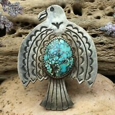 Huge Navajo Sterling Silver Spiderweb Turquoise Thunderbird Ring Sz 8.5 Wow