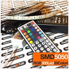 STRISCIA LED SMD 5050 5 M STRIP RGB BOBINA LUCE ALIMENTATORE E TELECOMANDO 44