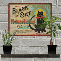 Black Cat Fortune Telling game Vintage Look Advertising Metal Sign 9 x 12  60008
