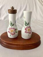 Royal Worcester Pershore Salt Pepper Shaker & Mill Porcelain Floral Multicolor