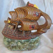 Antique cast iron door stop sailing ship - ORIGINAL PAINT - Roman lions on sails