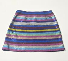 Mary Katrantzou Sequin Stripe Mini Skirt RRP £1000 Multicolour Silk UK 12 IT 44