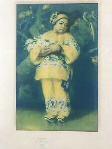 OLD antique Lithograph Chinese Girl Flowers Esther Hunt c1930's Chinatown