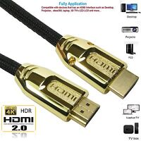 Ultra Braided HD HDMI Male Cable v2.0 High Speed Ethernet HDTV 2160p 4K 3D Lead