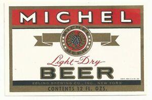 1950 Michel Beer Label - New York, NY - Ebling