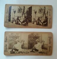 Lot Of 2 Stereopticon Cards POPULAR SERIES FRENCH EARLY French Heels / Tea Party