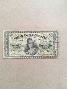 Dominion Of Canada Charlton Number DC-1A 1870 25 Cent Note Shinplaster Very Good
