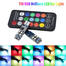 RGB T10 LED Bulb 10SMD W5W Remote Control Muticolor Car Interior Light Side Lamp