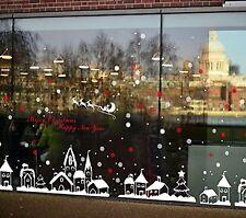 TOTOMO Christmas Town Window Decal Sticker Wall Décor Art White