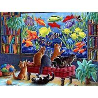 DIY Decor Diamond Painting Kit 5D Craft Full Drill Cat and Fish Leisure Hobby