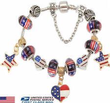 USA American Flag July 4th Red White Blue Charm Glass Bead Bracelet Patriotic