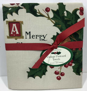 WILLIAMS SONOMA Christmas Postcard Towels 2 Pack New