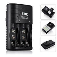 EBL 4 Slot Battery Charger For AA AAA 9V NiMH NiCD Rechargeable Batteries US