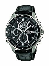 Casio Edifice Mens Chronograph Watch with Genuine Leather Strap EFR-547L-1AVU
