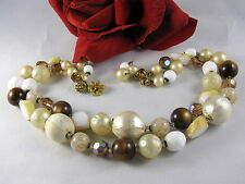 Vintage De Mario 2 Strand Beaded Rhinestone Necklace  FERAL  CAT RESCUE