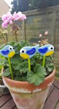 Blue Tit garden ornaments. Quirky Glass Art.Hand Cut Glass. Gift. Pot Sicks