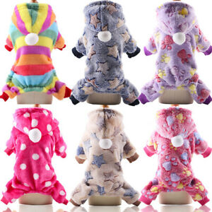Small Dog Soft Pajamas Jumpsuit Pet Puppy Cat Winter Hooded Clothes Cute Apparel