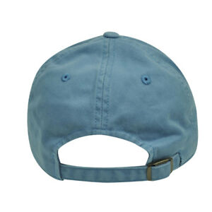 American Needle Blue Relaxed Fit Slouch Blank Plain Solid Hat Cap Curved Bill