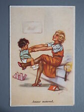 R&L Postcard: Amour Maternal, Young Lady Mum Playing with Child, Teddy Bear
