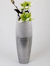 Moderne Deko Vase Bodenvase aus Keramik in silber Höhe 60 cm