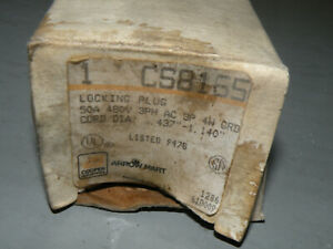 Cooper CS8165 50A 480V Twist-Lock Plug New