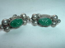 Jade Face Screw Back Earrings Vintage Mexican Sterling Carved Green