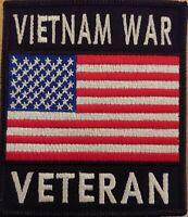 VIETNAM VETERAN United States USA Badge Flag Patch W/ VELCRO® Brand Fastener