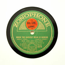 """BUD AND JOSH BILLINGS """"When The Harvest Moon Is Shining"""" ZONOPHONE 5376 [78 RPM]"""