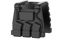 Black E1 (W28) Tactical Army Vest compatible with toy brick minifigures SWAT