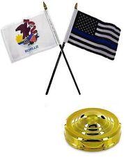 "Illinois State & USA Police Blue 4""x6"" Flag Desk Set Table Stick Gold Base"
